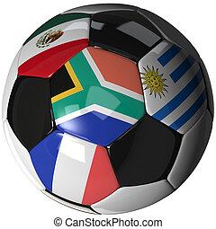focilabda, felett, fehér, noha, 4, zászlók, -, csoport, egy, 2010