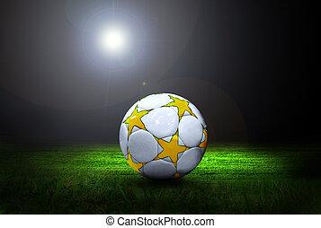 focilabda, képben látható, a, mező, közül, stadion, noha, fény