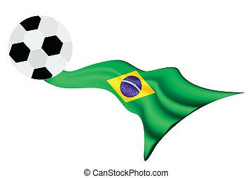 focilabda, képben látható, brazil zászló, közül, 20