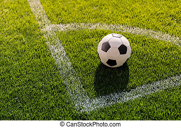 focilabda, képben látható, fű, alatt, szögletrúgás, helyzet, képben látható, futball terep, stadion