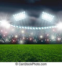 focilabda, képben látható, zöld, stadion, küzdőtér