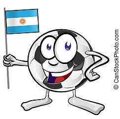 focilabda, karikatúra, noha, argentina lobogó