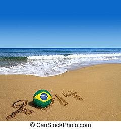 focilabda, noha, brazil zászló, és, 2014, képben látható, tengerpart
