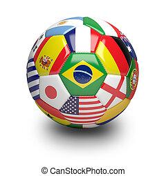 focilabda, noha, világ, befog, zászlók