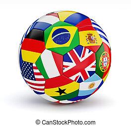focilabda, noha, világ, országok, zászlók, elszigetelt
