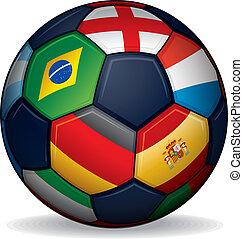 focilabda, noha, világ, zászlók