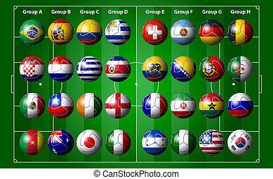 focilabda, noha, zászlók, brazília