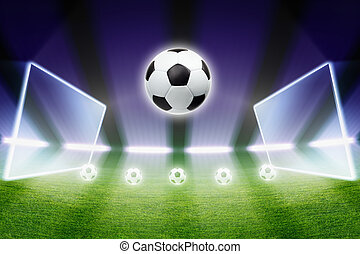 focilabda, reflektorfény, stadion