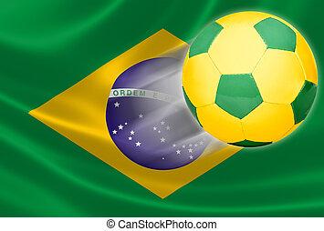 focilabda, repülés, ki, közül, brazil zászló
