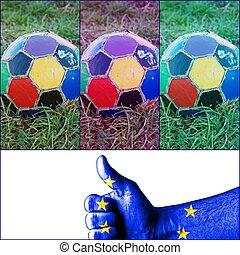 focilabda, színes, öreg, egyenetlen