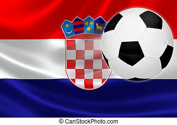 focilabda, szökell, ki, közül, croatia's, lobogó