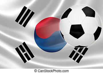 focilabda, szökell, ki, közül, déli, korea's, lobogó