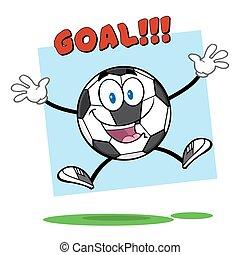 focilabda, ugrás, noha, szöveg, gól