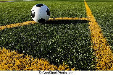 focilabda, vagy, labdarúgás, képben látható, egy, mező