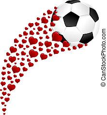 focilabda, vagy, labdarúgás, pezsgő, ünneplés