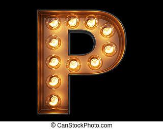 foco, alfabeto, carácter, p, fuente