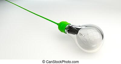 foco, con, verde, cuerda