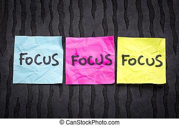 foco, -, concepto, en, notas pegajosas
