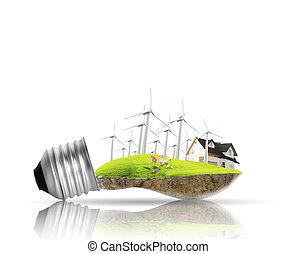 foco, energía alternativa, concepto