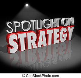 foco, estrategia, planificación, palabras, proyector, visión, 3d