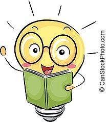 foco, libro, mascota, ilustración