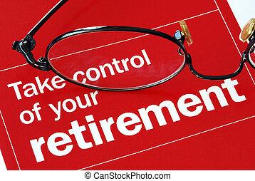 foco, ligado, e, tomar, controle, de, seu, aposentadoria