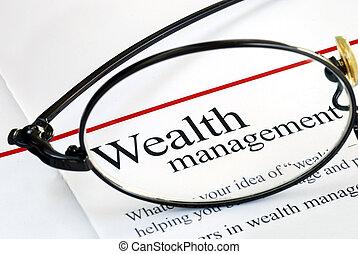 foco, ligado, riqueza, gerência, e, dinheiro, investir