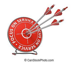 foco, ligado, serviço, slogan, -, golpe, target.