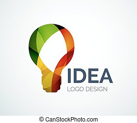 foco, logotipo, diseño, hecho, de, color, pedazos