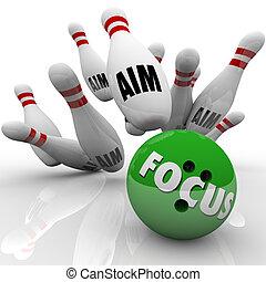 foco, puntería, bola de bowling, huelga, alfileres, blanco, meta