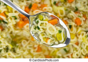 focus), アルファベット, スープ, 手製, (selective