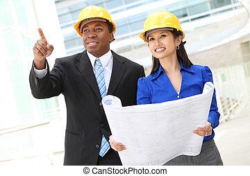 (focus, architecte, equipe affaires, woman)