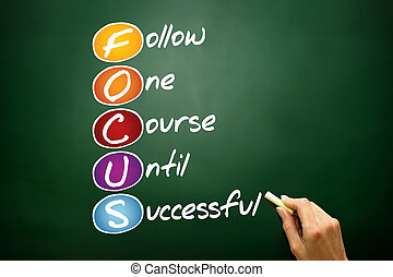 FOCUS, business concept acronym on blackboard