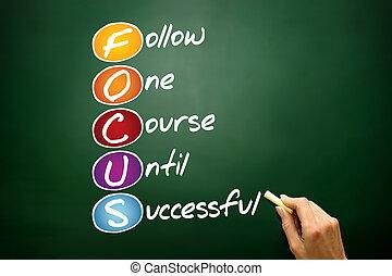 FOCUS, business concept acronym on blackboard