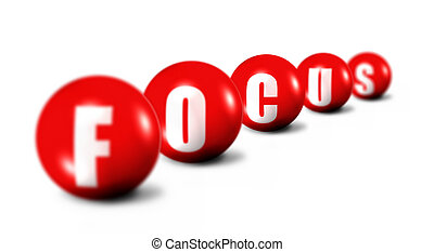 Focus word made of 3D spheres on white background, only letter C is sharp, the letters in front of it and behind it are out of focus, shallow DOF