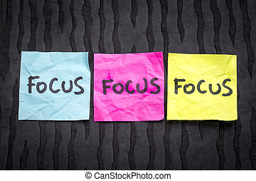 Focus - concept on sticky notes