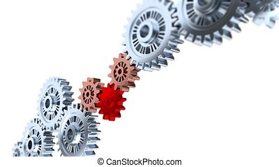 Focus effect on One Red Gear with Some Silver Gears Turning