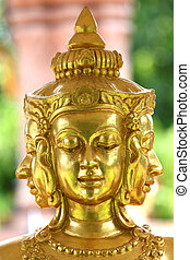 Focus Face Gold statue of Brahma.