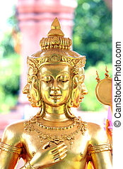 Focus Face Gold statue of Brahma. - Focus Face Gold statue...
