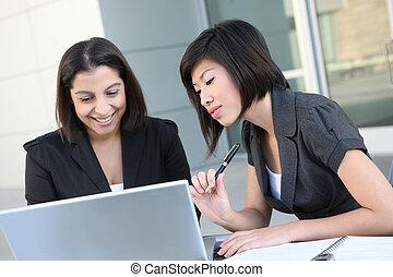 (focus, femmes, affaires asiatiques, woman)