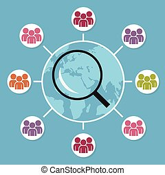 Focus Group. Magnifying glass