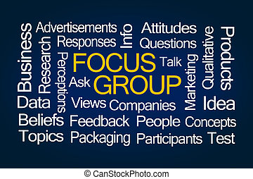 Focus Group Word Cloud on Blue Background