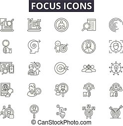 Focus line icons for web and mobile. Editable stroke signs. Focus outline concept illustrations