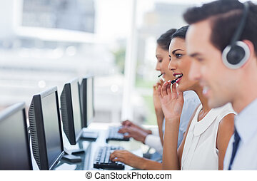 Focus of smiling call centre agent