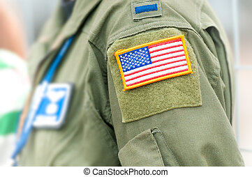 Focus on american flag on USAF uniform of person. - Part of...
