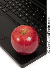 Focus on an Apple and Keyboard