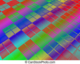 rainbow square frame surface, disco