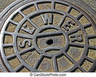 focus on center. vintage metal sewer manhole, industry details