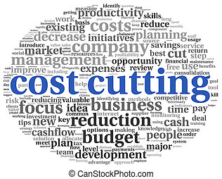 Focus on costs cutting concept in word tag cloud
