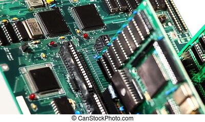 Focus on electronic detail of main board plate